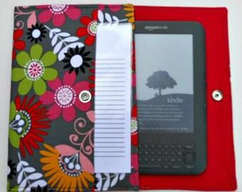 iPad Mini, Kindle, Nook, Kobo, Sony Reader, Samsung Galaxy, Small eReader Padded Case (READY TO SHIP) - Retro Floral