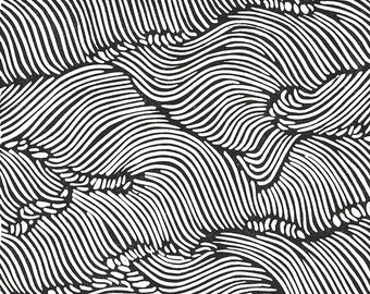 ROLLING WAVES Lino Print - Black& White Abstract Japanese Wave Print - 8x10 Block Print - Ready to Ship