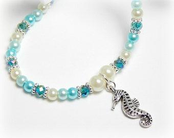 Seahorse Anklet, Crystal Blue Anklet,  Sea Horse Charm Anklet, Silver Adjustable Anklet