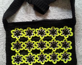 Black Shoulder Crocheted Can Tab Purse, Fabric Lining Soda Tabs Purse, 3 inside Pockets Bag, Pop Tab Yellow and Black Bag