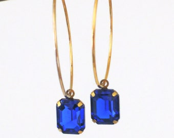 Vintage Earrings - Sapphire Blue Earrings - Hoop Earrings - Rhinestone Earrings - Gold Earrings - Bridesmaid Earrings - handmade jewelry