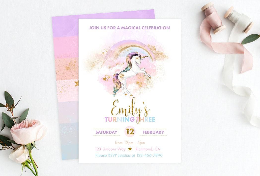 Printable Rainbow Birthday Invitations ~ Rainbow unicorn invitation unicorn birthday unicorn party