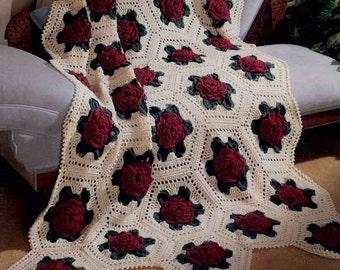 Victorian Rose Afghan Crochet Pattern PDF