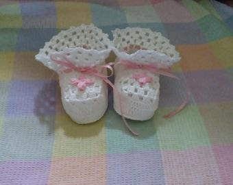 Pink flower booties