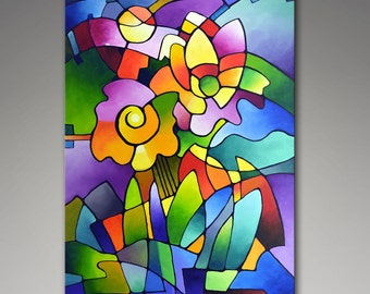 Abstract Art Print, Geometric Art, Cubist Floral Print, Giclee Print on Canvas from my Original Abstract Painting