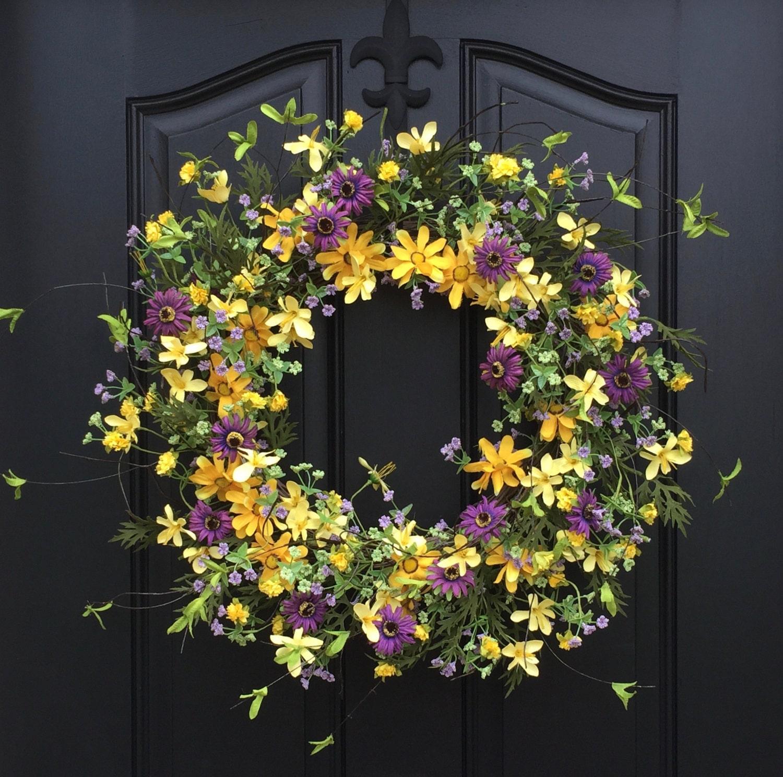 Summer Wreaths Yellow Daisy Wreath Summer Front Door