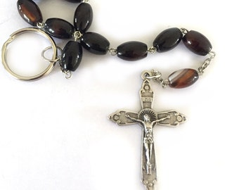 Brown Agate Rosary Beads One Decade Catholic Gifts for Men Boys