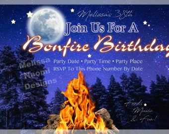 Bonfire Party Invitation, Camping Birthday Party, S'mores Party Invite, Summer Fun Party, Backyard Barbecue, 4th of July, DIGITAL FILE, Art