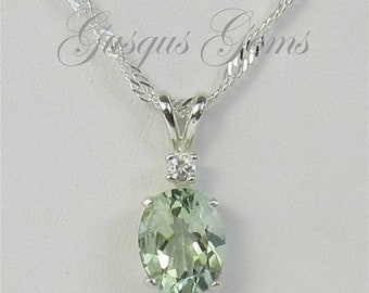 Memorial Day Sale Prasiolite Necklace Sterling Silver 10x8mm 2.50ct With White Zircon Accent Green Amethyst Sterling Necklace