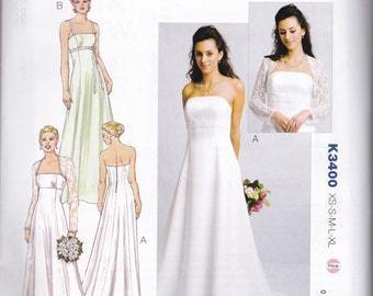 K3400 kwik Sew Wedding Gowns and Bolero Sewing Pattern Sizes XS-S-M-L-XL Empire Waist A-Line Straps or Sleeveless