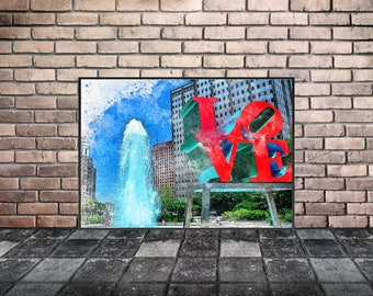 Philadelphia Love Park Watercolor, Center City, Fountain, Love Statue, Instant Download, 8x10, Digital Poster, Digital Download, Home Decor