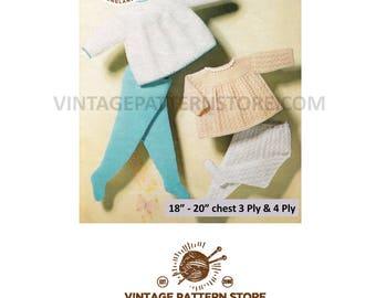 "Babies pram set, 2 round neck, angel tops & 2 legginettes - 18"" - 20"" chest - Vintage PDF Knitting Pattern 1015"