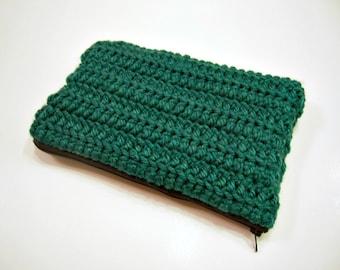 Forest Green Crochet Clutch