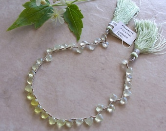 """AAA Lemon Prehnite Gemstone Faceted Notched Edge Very Small Leaf Briolette Beads 8"""" Strand 5mm-6mm"""