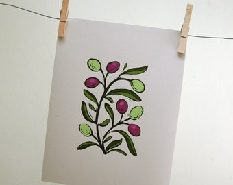 Olive Branch gardening art block print with hand painted details on recycled card stock spring botanical home decor