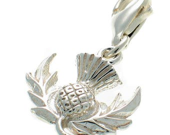 Welded Bliss Sterling 925 Silver Clip On Thistle Scottish Emblem Charm