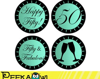 Instant Download Champagne turquoise black 50th Birthday Cupcake Toppers - Printable DIY 50th Birthday Favor tags, Stickers - 50th birthday!