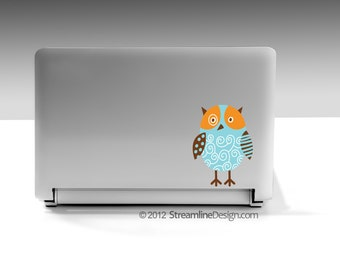 Artsy Owl Vinyl Laptop or Automotive Art FREE SHIPPING, owl lover love owls owl laptop sticker owl art whimsical owl owl rear window sticker