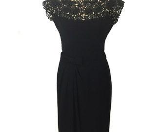 vintage 1950s lace illusion neck dress / black lbd / floral lace / wiggle dress / cocktail dress / women's vintage dress / size large