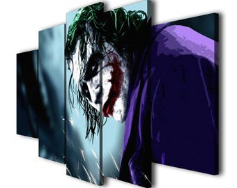 5 Panels Batman The Dark Knight Joker Painting Printed on Canvas Wall Art Picture for Home Décor, Contemporary Artwork, Split Canvases
