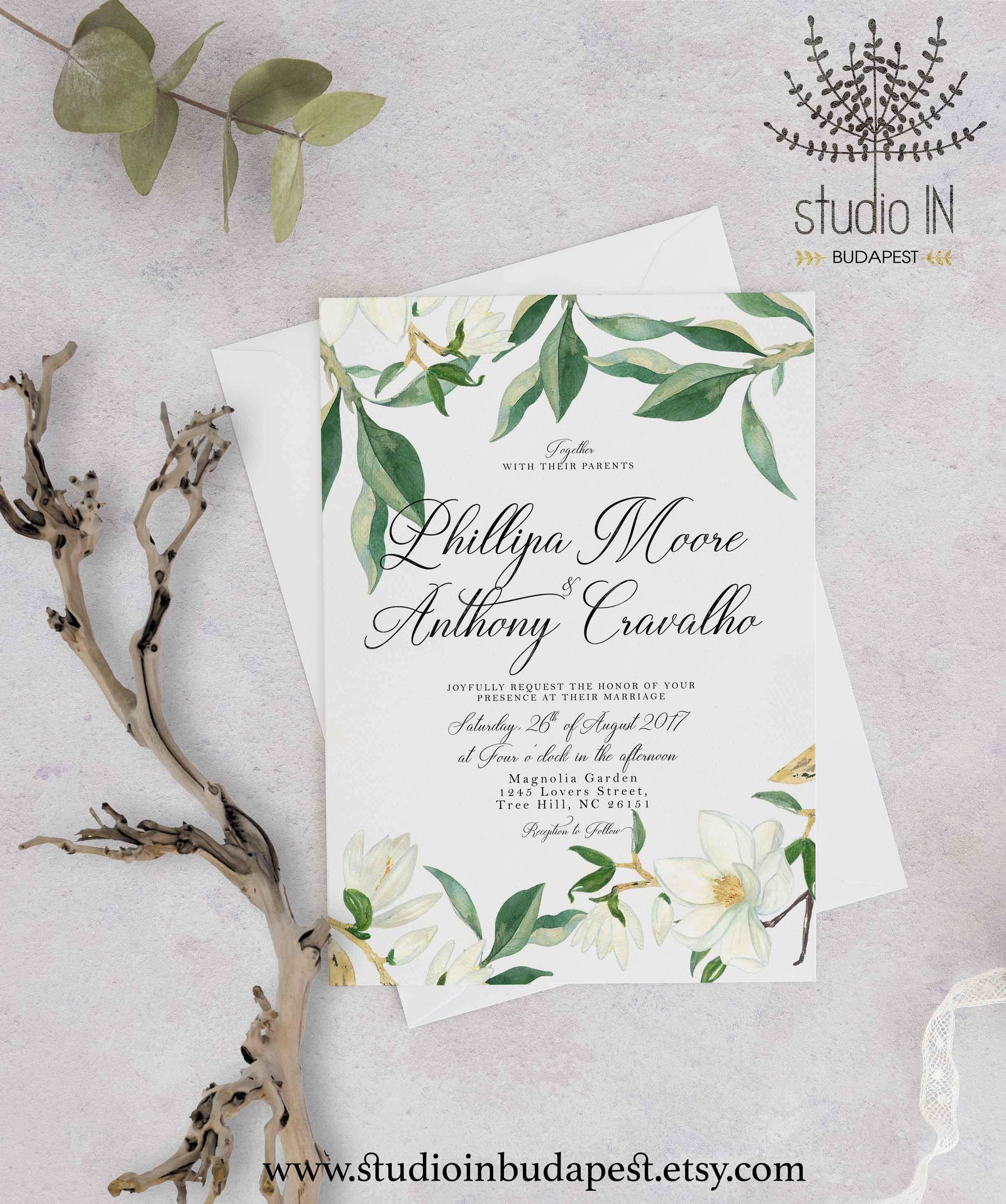 Green and Magnolia Wedding Invitation white floral wedding