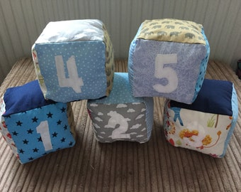 Numbered soft baby blocks, numbered blocks, fabric blocks, soft play, handmade baby toy, toddler toys, baby toys