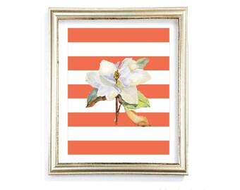 Magnolia Flower Art Print - Magnolia Wall Art - Watercolor Magnolia Art - Coral Orange Stripes Print - Modern Home Decor - Aldari Art
