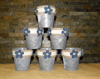 Denim Flowers, Burlap Decorated Grey Galvanized Metal 4 1/2 Inch Buckets, SET of 6 Just add Potted Flowers, Great Centerpieces, Weddings