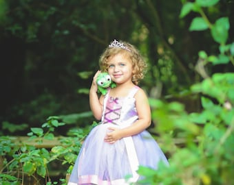 Rapunzel Costume: Light purple tutu dress with pink center and straps, Princess Birthday Party, Vacation, Easy on and off, princess dinner