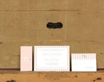 Rustic French Striped Wedding Invitation,French Stripe Invitations,Modern Preppy Striped Wedding Invites, Pink Striped Wedding Inivitations