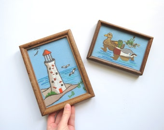 Crewel Embroidery Set // Vintage Coastal Nautical Small Art Set Ducks and Lighthouse 1980's Framed Completed Blue Brown Mid Century Kitsch