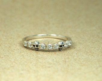 Skull Ring with 925 Sterling Silver  White CZ Stone, Gothic Ring, Mini skull Ring,  Tiny Skull  ring, skull ring for women,  stacking ring