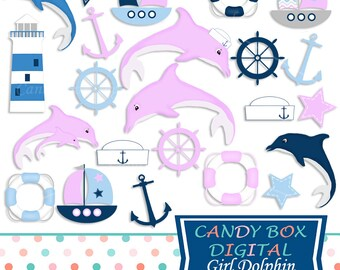 Baby Girl Dolphin Clipart, Nautical Clip Art for Baby Showers - Commercial Use OK