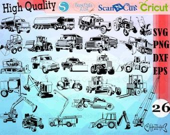 Auto equipment svg, excavator svg, construction vehicles svg, construction machinery svg, truck svg, silhouette, decal, stencil, cut file,