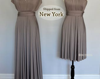 Taupe infinity dress, convertible dresses, party dress, infinity dress, twist wrap dress long, sleeveless infinity dress, Evening Dress