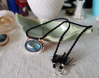 SOLD ** Labradorite Belladonna Witching Herb Pendant Throat Chakra Crystal Necklace