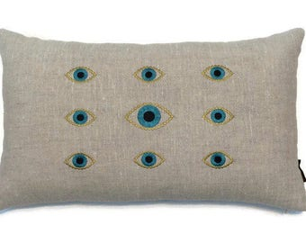 Evil Eye Embroidered Linen pillow covers