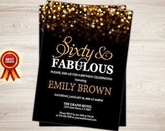 Surprise 50th birthday invitation for women black gold surprise 60th birthday invitation for women sixty and fabulous birthday invitation gold glitter bokeh printable filmwisefo Choice Image