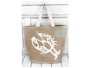 Personalized LOBSTER beach bag ,nautical tote bag, beach bag,  monogrammed beach bag,  bridesmaid tote bags , striped tote bags