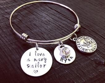 I Love A Navy Sailor Bracelet   Navy Wife Bracelet   Navy Wife Jewelry   Navy Girlfriend Bracelet   Navy Mom Bracelet   Navy Jewelry Gift