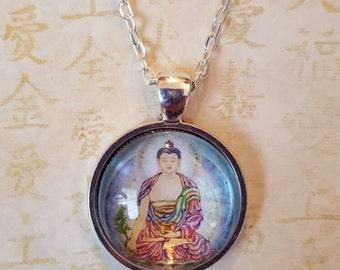 Medicine Buddha pendant,  buddha amulet, buddha pendant, buddha on silver chain