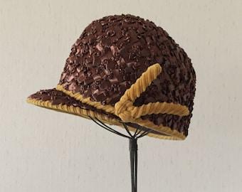 Vintage 60s Brown Cloche Hat