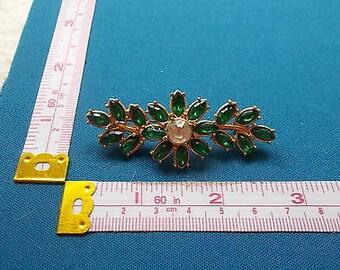 Vintage Diamanté Emerald Green Flower Brooch