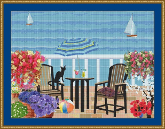 Summer Balcony Cross Stitch Pattern /Digital PDF Files /Instant downloadable