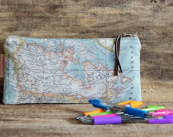 Map pencil case, Canada map case, World Map pouch, School pencil case, Small Cosmetic bag, MakeUp bag, USA pouch, Globe, Teacher gift