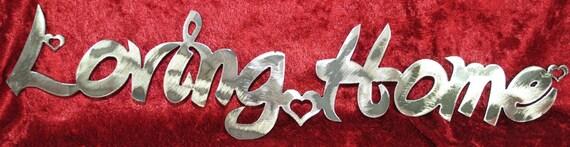 Loving Home, Metal Sign, Hearts, Metal Hearts, Home Decor, Indoor Metal Wall Art, Outdoor Metal Wall Art, House Warming Gift, Metal Decor