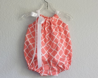Baby Girls Coral Bubble Romper - Coral and White Infant Sun Suit -  Baby Girl Layette - Orange Baby Romper - Size 3m, 6m, 9m, 12m or 18m