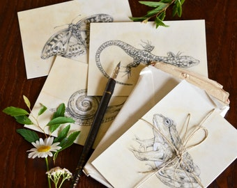 "Set of Four Illustrated Postcards / Mini Prints - ""Little Garden Friends"". Animal illustrations."