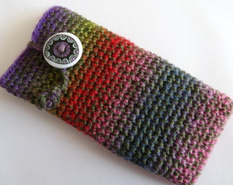Purple, red, pink, blue multicolour Iphone cosy with a special button.