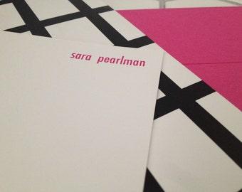 "ladder print notecard (hot pink), set of 25, 4"" W x 9.25"" H"